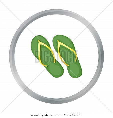 Green flip-flops icon in cartoon design isolated on white background. Brazil country symbol stock vector illustration. - stock vector