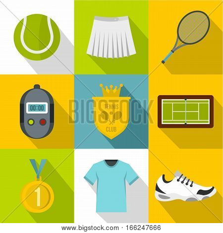 Active tennis icons set. Flat illustration of 9 active tennis vector icons for web