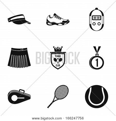 Sport with racket icons set. Simple illustration of 9 sport with racket vector icons for web