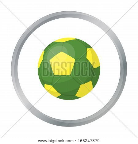 Green soccer ball icon in cartoon design isolated on white background. Brazil country symbol stock vector illustration. - stock vector