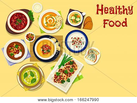 Thick soups icon of fish soup with vegetables, baked carrot and sweet potato cream soups with spices, bean corn soup with cream, beet tomato soup, apple celery soup with cheese toast, spicy waffles