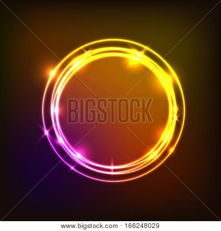 Abstract background with colorful circles neon, stock vector