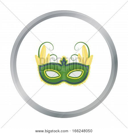 Brazilian carnival mask icon in cartoon design isolated on white background. Brazil country symbol stock vector illustration. - stock vector