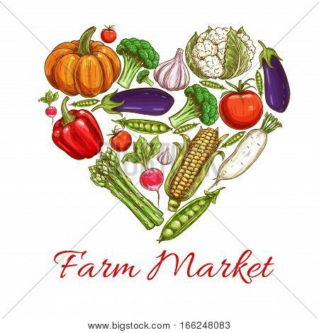 Vegetable in heart shape poster with fresh farm tomato, broccoli, pepper, garlic, green pea and eggplant, corn, pumpkin and radish, asparagus and cauliflower sketches. Farm market, vegetarian food design