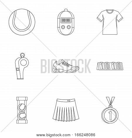 Active tennis icons set. Outline illustration of 9 active tennis vector icons for web