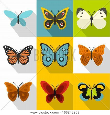 Creatures butterflies icons set. Flat illustration of 9 creatures butterflies vector icons for web
