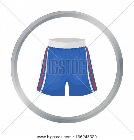 Boxing shorts icon in cartoon style isolated on white background. Boxing symbol vector illustration. - stock vector