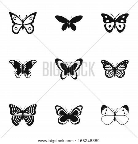 Creatures butterflies icons set. Simple illustration of 9 creatures butterflies vector icons for web