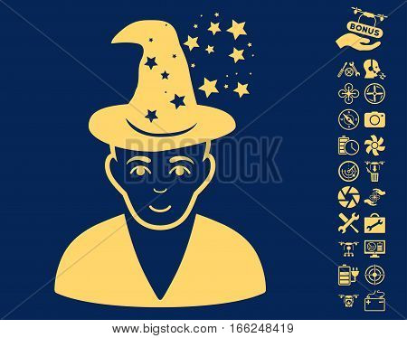 Magic Master pictograph with bonus uav service icon set. Vector illustration style is flat iconic yellow symbols on blue background.