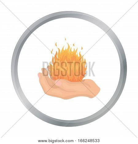 Fire spell icon in cartoon style isolated on white background. Black and white magic symbol vector illustration. - stock vector