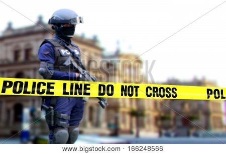 Police officer on duty standing on standby position