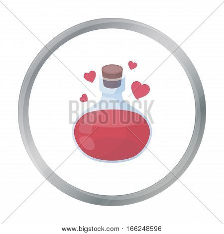 Love potion icon in cartoon style isolated on white background. Black and white magic symbol vector illustration. - stock vector