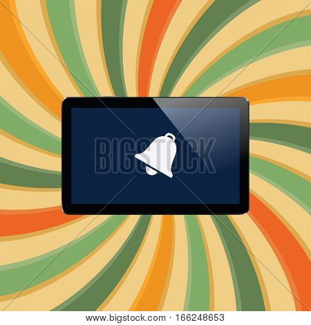 Digital tablet with shiny sensor screen on abstract swirl colorful lines retro background. Electronic smart device. Mobile gadget. Vector illustration
