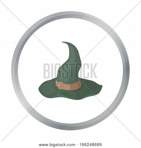 Witch's hat icon in cartoon style isolated on white background. Black and white magic symbol vector illustration. - stock vector