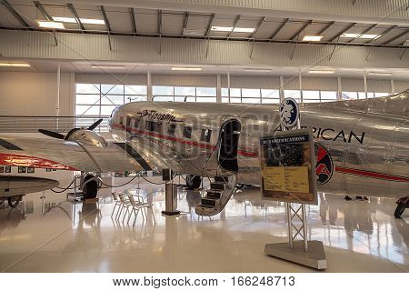 Santa Ana CA USA - January 21 2017: Douglas DC-3 airplane called Flagship Orange County displayed at the Lyon Air Museum in El Santa Ana California United States. It was used during World War II. Editorial use only.