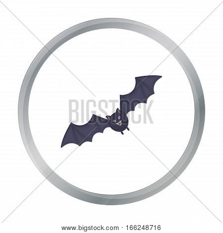 Bat icon in cartoon style isolated on white background. Black and white magic symbol vector illustration. - stock vector