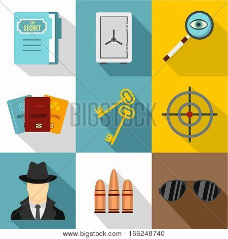 Surveillance icons set. Flat illustration of 9 surveillance vector icons for web