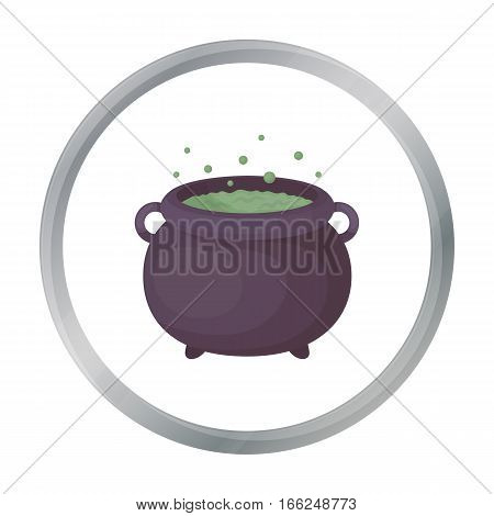 Witch's cauldron icon in cartoon style isolated on white background. Black and white magic symbol vector illustration. - stock vector