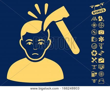 Murder With Hammer icon with bonus quad copter tools graphic icons. Vector illustration style is flat iconic yellow symbols on blue background.