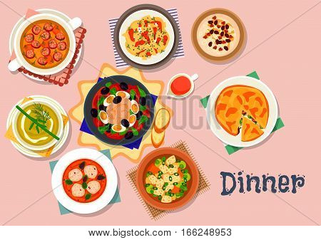 Tasty soups and salads icon with sausage vegetable soup, pasta with nut sauce, pumpkin cream soup with meatball, tuna veggies salad, chicken mushroom pie, pea soup, cauliflower soup, semolina dessert