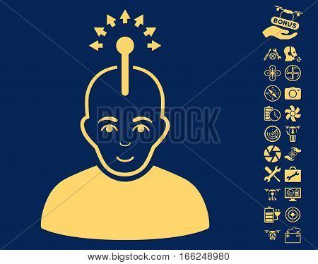 Optical Neural Interface pictograph with bonus copter service pictograph collection. Vector illustration style is flat iconic yellow symbols on blue background.