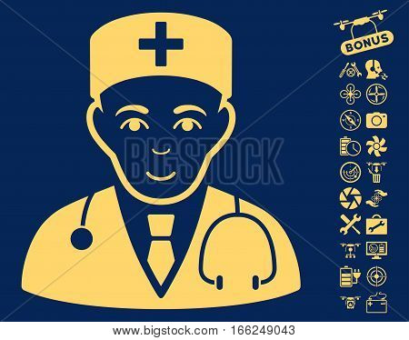 Physician pictograph with bonus copter service images. Vector illustration style is flat iconic yellow symbols on blue background.