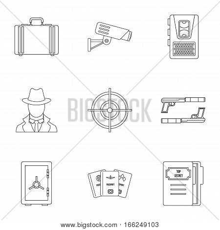 Scout icons set. Outline illustration of 9 scout vector icons for web