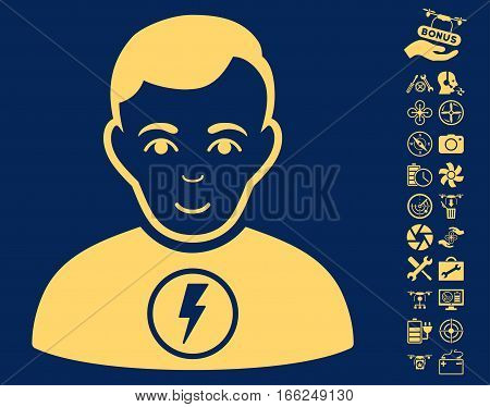 Power Man pictograph with bonus quad copter tools clip art. Vector illustration style is flat iconic yellow symbols on blue background.