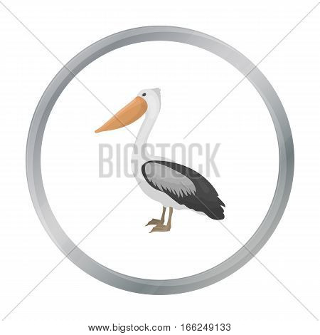 Pelican icon in cartoon style isolated on white background. Bird symbol vector illustration. - stock vector