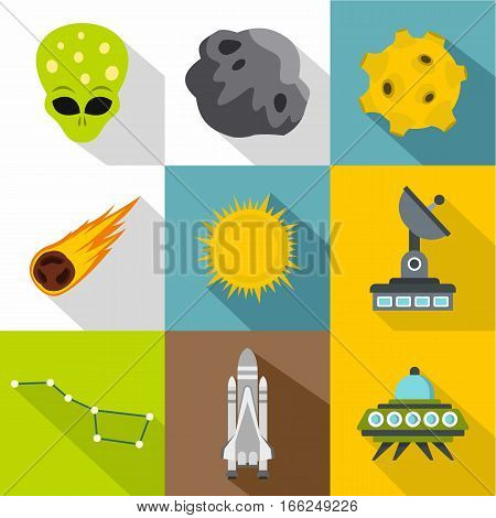 Cosmos icons set. Flat illustration of 9 cosmos vector icons for web