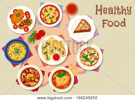 Healthy food with dessert for lunch icon of chicken cheese rolls, tomato soup with bean, chicken vegetable stew, baked potato with meat, beef carpaccio, bread pie with nut, tripe and pearl barley soup
