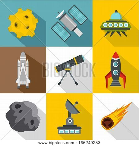 Outer space icons set. Flat illustration of 9 outer space vector icons for web