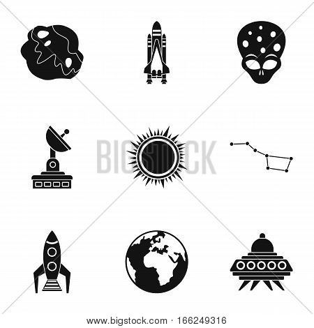 Universe icons set. Simple illustration of 9 universe vector icons for web