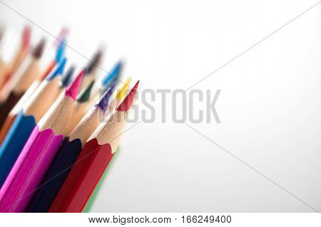 Color pencils with depth and field isolated on white background