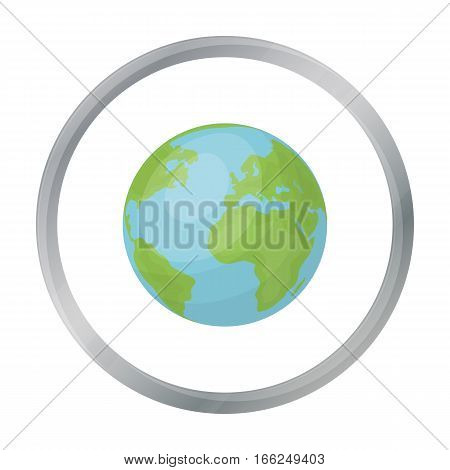 Earth icon in outline design isolated on white background. Bio and ecology symbol stock vector illustration. - stock vector