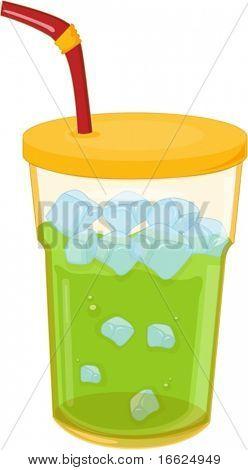 illustration of glass full of juice on white