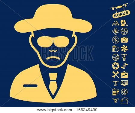 Security Agent icon with bonus uav service design elements. Vector illustration style is flat iconic yellow symbols on blue background.