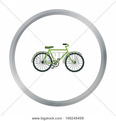 Green bicycle icon in outline design isolated on white background. Bio and ecology symbol stock vector illustration. - stock vector