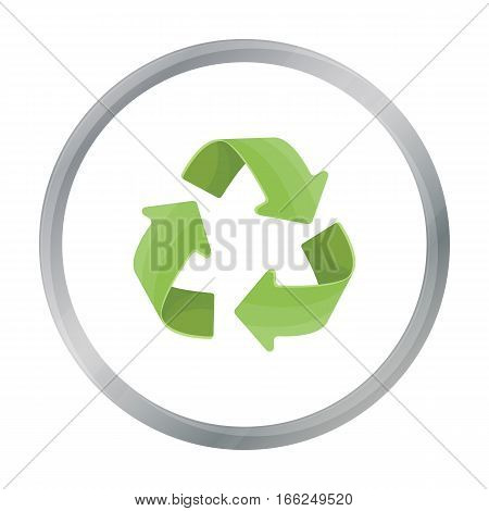 Green recycling sign icon in outline design isolated on white background. Bio and ecology symbol stock vector illustration. - stock vector
