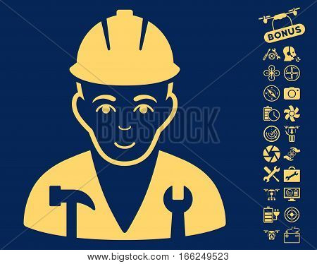 Serviceman pictograph with bonus quadrocopter service pictures. Vector illustration style is flat iconic yellow symbols on blue background.