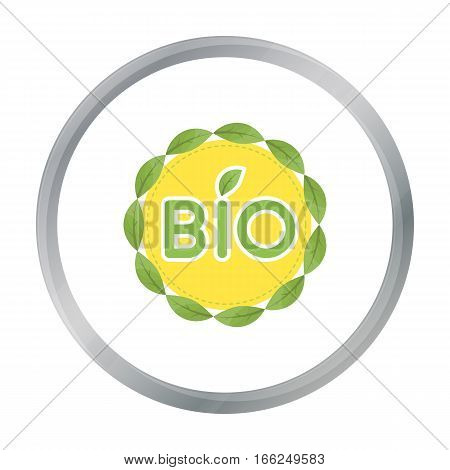 Bio label icon in outline design isolated on white background. Bio and ecology symbol stock vector illustration. - stock vector