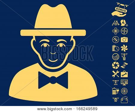 Spy icon with bonus nanocopter service pictures. Vector illustration style is flat iconic yellow symbols on blue background.