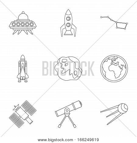 Outer space icons set. Outline illustration of 9 outer space vector icons for web