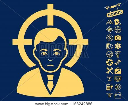 Victim Businessman pictograph with bonus uav tools design elements. Vector illustration style is flat iconic yellow symbols on blue background.