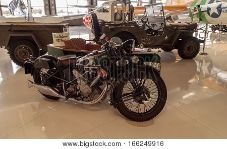 Santa Ana CA USA - January 21 2017: Steve McQueen's Green 1931 Panther motorcycle with sidecar displayed at the Lyon Air Museum in Santa Ana California United States. It was used during World War II. Editorial use only.