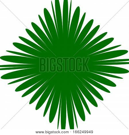 Radial Green Shape Isolated On White Background. Square With Distorted Pucker / Bloat Effect