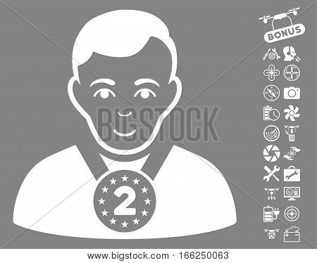2nd Prizer Sportsman pictograph with bonus flying drone tools pictures. Vector illustration style is flat iconic white symbols on gray background.