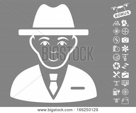 Agent icon with bonus uav tools pictograph collection. Vector illustration style is flat iconic white symbols on gray background.