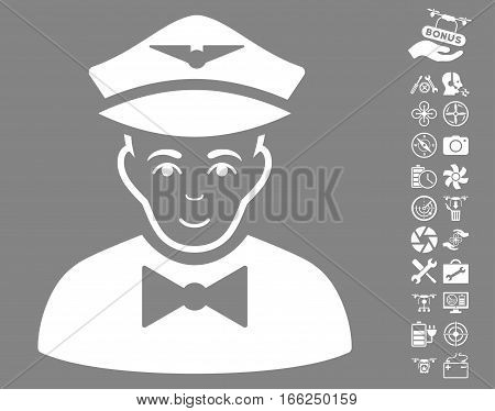 Airline Steward pictograph with bonus copter service images. Vector illustration style is flat iconic white symbols on gray background.