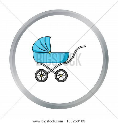 Pram icon in cartoon style isolated on white background. Baby born symbol vector illustration. - stock vector